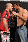 BELO HORIZONTE, BRAZIL - JUNE 22:   (L-R) Opponents Wanderlei Silva and Rich Franklin face off after making weight during the UFC 147 weigh in at Estadio Jornalista Felipe Drummond on June 22, 2012 in Belo Horizonte, Brazil.  (Photo by Josh Hedges/Zuffa LLC/Zuffa LLC via Getty Images)