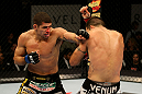 ATLANTIC CITY, NJ - JUNE 22:  Luis Ramos (L) throws a punch at Matt Brown (R) in a welterweight bout during UFC on FX 4 at Revel Casino on June 22, 2012 in Atlantic City, New Jersey.  (Photo by Nick Laham/Zuffa LLC/Zuffa LLC)