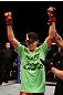 ATLANTIC CITY, NJ - JUNE 22:  Steven Siler celebrates his win by submission guillotine choke against Joe Gambino (not pictured) in a featherweight bout during UFC on FX 4 at Revel Casino on June 22, 2012 in Atlantic City, New Jersey.  (Photo by Nick Laham/Zuffa LLC/Zuffa LLC)