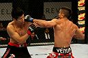 ATLANTIC CITY, NJ - JUNE 22:  Ricardo Lamas (R) punches Hatsu Hioki (L) in a featherweight bout during UFC on FX 4 at Revel Casino on June 22, 2012 in Atlantic City, New Jersey.  (Photo by Nick Laham/Zuffa LLC/Zuffa LLC)