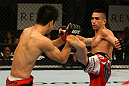 ATLANTIC CITY, NJ - JUNE 22:  Ricardo Lamas (R) kicks Hatsu Hioki (L) in a featherweight bout during UFC on FX 4 at Revel Casino on June 22, 2012 in Atlantic City, New Jersey.  (Photo by Nick Laham/Zuffa LLC/Zuffa LLC)