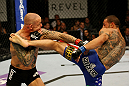 ATLANTIC CITY, NJ - JUNE 22:  Cub Swanson (R) kicks Ross Pearson (L) in a featherweight bout during UFC on FX 4 at Revel Casino on June 22, 2012 in Atlantic City, New Jersey.  (Photo by Nick Laham/Zuffa LLC/Zuffa LLC)