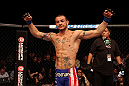 ATLANTIC CITY, NJ - JUNE 22:  Cub Swanson celebrates his win by TKO against Ross Pearson (not pictured) in a featherweight bout during UFC on FX 4 at Revel Casino on June 22, 2012 in Atlantic City, New Jersey.  (Photo by Nick Laham/Zuffa LLC/Zuffa LLC)