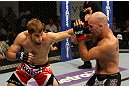 ATLANTIC CITY, NJ - JUNE 22: T.J. Waldburger (L) punches Brian Ebersole (R) in a welterweight bout during UFC on FX 4 at Revel Casino on June 22, 2012 in Atlantic City, New Jersey.  (Photo by Nick Laham/Zuffa LLC/Zuffa LLC)