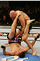 ATLANTIC CITY, NJ - JUNE 22:  Brian Ebersole (T) battles T.J. Waldburger (B) in a welterweight bout during UFC on FX 4 at Revel Casino on June 22, 2012 in Atlantic City, New Jersey.  (Photo by Nick Laham/Zuffa LLC/Zuffa LLC)