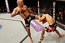 ATLANTIC CITY, NJ - JUNE 22: Brian Ebersole (L) kicks T.J. Waldburger (R) in a welterweight bout during UFC on FX 4 at Revel Casino on June 22, 2012 in Atlantic City, New Jersey.  (Photo by Nick Laham/Zuffa LLC/Zuffa LLC)
