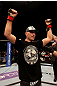 ATLANTIC CITY, NJ - JUNE 22:  Brian Ebersole celebrates his win by unanimous decision against T.J. Waldburger (not pictured) in a welterweight bout during UFC on FX 4 at Revel Casino on June 22, 2012 in Atlantic City, New Jersey.  (Photo by Nick Laham/Zuffa LLC/Zuffa LLC)