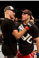 ATLANTIC CITY, NJ - JUNE 22:  (L-R) Brian Ebersole is congratulated on his win by unanimous decision by T.J. Waldburger after their welterweight bout during UFC on FX 4 at Revel Casino on June 22, 2012 in Atlantic City, New Jersey.  (Photo by Nick Laham/Zuffa LLC/Zuffa LLC)