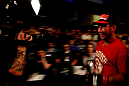 ATLANTIC CITY, NJ - JUNE 22:  Sam Stout is filmed as he leaves the octagon after his win by unanimous decision over Spencer Fisher (not pictured)  in their lightweight bout during UFC on FX 4 at Revel Casino on June 22, 2012 in Atlantic City, New Jersey.  (Photo by Nick Laham/Zuffa LLC/Zuffa LLC)
