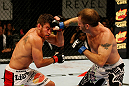 ATLANTIC CITY, NJ - JUNE 22:  Spencer Fisher (R) punches Sam Stout (L) in a lightweight bout during UFC on FX 4 at Revel Casino on June 22, 2012 in Atlantic City, New Jersey.  (Photo by Nick Laham/Zuffa LLC/Zuffa LLC)