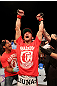 ATLANTIC CITY, NJ - JUNE 22:  Sam Stout celebrates his win by unanimous decision over Spencer Fisher (not pictured)  in their lightweight bout during UFC on FX 4 at Revel Casino on June 22, 2012 in Atlantic City, New Jersey.  (Photo by Nick Laham/Zuffa LLC/Zuffa LLC)