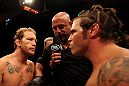 ATLANTIC CITY, NJ - JUNE 22: Clay Guida (R) faces off with Gray Maynard (L) in the main event lightweight bout during UFC on FX 4 at Revel Casino on June 22, 2012 in Atlantic City, New Jersey. (Photo by Nick Laham/Zuffa LLC/Zuffa LLC)