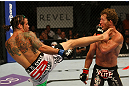 ATLANTIC CITY, NJ - JUNE 22:  Clay Guida (L) throws a kick against Gray Maynard (R) in the main event lightweight bout during UFC on FX 4 at Revel Casino on June 22, 2012 in Atlantic City, New Jersey.  (Photo by Nick Laham/Zuffa LLC/Zuffa LLC)