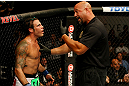 ATLANTIC CITY, NJ - JUNE 22:  Referee Dan Miragliotta (R) warns Clay Guida (L) for inactivity in the main event lightweight bout during UFC on FX 4 at Revel Casino on June 22, 2012 in Atlantic City, New Jersey.  (Photo by Nick Laham/Zuffa LLC/Zuffa LLC)
