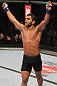 "BELO HORIZONTE, BRAZIL - JUNE 23:   Hugo ""Wolverine"" Viana reacts after his three-round battle against John Teixeira  at Estadio Jornalista Felipe Drummond on June 23, 2012 in Belo Horizonte, Brazil.  (Photo by Josh Hedges/Zuffa LLC/Zuffa LLC via Getty Images)"