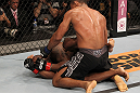 BELO HORIZONTE, BRAZIL - JUNE 23:   (R-L) Francisco Trinaldo punches Delson &quot;Pe De Chumbo&quot; Heleno during their UFC 147 middleweight bout at Estadio Jornalista Felipe Drummond on June 23, 2012 in Belo Horizonte, Brazil.  (Photo by Josh Hedges/Zuffa LLC/Zuffa LLC via Getty Images)