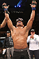 "BELO HORIZONTE, BRAZIL - JUNE 23:   Francisco Trinaldo reacts after his TKO victory over Delson ""Pe De Chumbo"" Heleno during their UFC 147 middleweight bout at Estadio Jornalista Felipe Drummond on June 23, 2012 in Belo Horizonte, Brazil.  (Photo by Josh Hedges/Zuffa LLC/Zuffa LLC via Getty Images)"