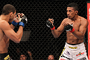 BELO HORIZONTE, BRAZIL - JUNE 23:   (R-L) Yuri Alcantara taunts Hacran Dias during their UFC 147 featherweight bout at Estadio Jornalista Felipe Drummond on June 23, 2012 in Belo Horizonte, Brazil.  (Photo by Josh Hedges/Zuffa LLC/Zuffa LLC via Getty Images)