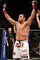 BELO HORIZONTE, BRAZIL - JUNE 23:   Fabricio Werdum reacts after defeating Mike Russow during their UFC 147 heavyweight bout at Estadio Jornalista Felipe Drummond on June 23, 2012 in Belo Horizonte, Brazil.  (Photo by Josh Hedges/Zuffa LLC/Zuffa LLC via Getty Images)