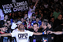 "BELO HORIZONTE, BRAZIL - JUNE 23:   Sergio ""Serginho"" Moraes enters the arena before his UFC 147 middleweight bout against Cezar ""Mutante"" Ferreira at Estadio Jornalista Felipe Drummond on June 23, 2012 in Belo Horizonte, Brazil.  (Photo by Josh Hedges/Zuffa LLC/Zuffa LLC via Getty Images)"