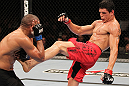 BELO HORIZONTE, BRAZIL - JUNE 23: (R-L) Cezar &quot;Mutante&quot; Ferreira kicks Sergio &quot;Serginho&quot; Moraes during their UFC 147 middleweight bout at Est&Atilde;&iexcl;dio Jornalista Felipe Drummond on June 23, 2012 in Belo Horizonte, Brazil. (Photo by Josh Hedges/Zuffa LLC/Zuffa LLC via Getty Images)