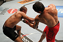 "BELO HORIZONTE, BRAZIL - JUNE 23:   (R-L) Cezar ""Mutante"" Ferreira punches Sergio ""Serginho"" Moraes during their UFC 147 middleweight bout at Estadio Jornalista Felipe Drummond on June 23, 2012 in Belo Horizonte, Brazil.  (Photo by Josh Hedges/Zuffa LLC/Zuffa LLC via Getty Images)"