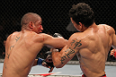 "BELO HORIZONTE, BRAZIL - JUNE 23:    (L-R) Sergio ""Serginho"" Moraes punches Cezar ""Mutante"" Ferreira during their UFC 147 middleweight bout at Estadio Jornalista Felipe Drummond on June 23, 2012 in Belo Horizonte, Brazil.  (Photo by Josh Hedges/Zuffa LLC/Zuffa LLC via Getty Images)"