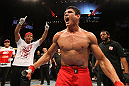 "BELO HORIZONTE, BRAZIL - JUNE 23:   Cezar ""Mutante"" Ferreira reacts after defeating Sergio ""Serginho"" Moraes during their UFC 147 middleweight bout at Estadio Jornalista Felipe Drummond on June 23, 2012 in Belo Horizonte, Brazil.  (Photo by Josh Hedges/Zuffa LLC/Zuffa LLC via Getty Images)"