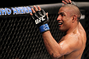 "BELO HORIZONTE, BRAZIL - JUNE 23:   Sergio ""Serginho"" Moraes reacts to the crowd during his UFC 147 bout against Cezar ""Mutante"" Ferreira at Estadio Jornalista Felipe Drummond on June 23, 2012 in Belo Horizonte, Brazil.  (Photo by Josh Hedges/Zuffa LLC/Zuffa LLC via Getty Images)"