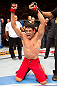 BELO HORIZONTE, BRAZIL - JUNE 23: Cezar &quot;Mutante&quot; Ferreira reacts after defeating Sergio &quot;Serginho&quot; Moraes during their UFC 147 middleweight bout at Estadio Jornalista Felipe Drummond on June 23, 2012 in Belo Horizonte, Brazil. (Photo by Josh Hedges/Zuffa LLC/Zuffa LLC via Getty Images)