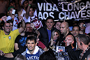 BELO HORIZONTE, BRAZIL - JUNE 23:   Rich Franklin enters the arena before his UFC 147 catchweight bout against Wanderlei Silva at Estadio Jornalista Felipe Drummond on June 23, 2012 in Belo Horizonte, Brazil.  (Photo by Josh Hedges/Zuffa LLC/Zuffa LLC via Getty Images)