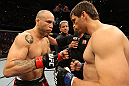BELO HORIZONTE, BRAZIL - JUNE 23:   (L-R) Opponents Wanderlei Silva and Rich Franklin receive final instructions from the referee before their UFC 147 catchweight bout at Estadio Jornalista Felipe Drummond on June 23, 2012 in Belo Horizonte, Brazil.  (Photo by Josh Hedges/Zuffa LLC/Zuffa LLC via Getty Images)