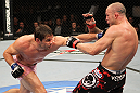 BELO HORIZONTE, BRAZIL - JUNE 23:   (L-R) Rich Franklin punches Wanderlei Silva during their UFC 147 catchweight bout at Estadio Jornalista Felipe Drummond on June 23, 2012 in Belo Horizonte, Brazil.  (Photo by Josh Hedges/Zuffa LLC/Zuffa LLC via Getty Images)
