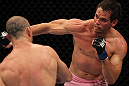 BELO HORIZONTE, BRAZIL - JUNE 23:   (R-L) Rich Franklin punches Wanderlei Silva during their UFC 147 catchweight bout at Estadio Jornalista Felipe Drummond on June 23, 2012 in Belo Horizonte, Brazil.  (Photo by Josh Hedges/Zuffa LLC/Zuffa LLC via Getty Images)