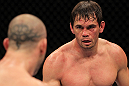 BELO HORIZONTE, BRAZIL - JUNE 23:   (R-L) Rich Franklin squares off with Wanderlei Silva during their UFC 147 catchweight bout at Estadio Jornalista Felipe Drummond on June 23, 2012 in Belo Horizonte, Brazil.  (Photo by Josh Hedges/Zuffa LLC/Zuffa LLC via Getty Images)