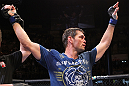 BELO HORIZONTE, BRAZIL - JUNE 23: Rich Franklin reacts after defeating Wanderlei Silva during their UFC 147 middleweight bout at Estadio Jornalista Felipe Drummond on June 23, 2012 in Belo Horizonte, Brazil. (Photo by Josh Hedges/Zuffa LLC/Zuffa LLC via Getty Images)