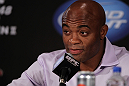 LAS VEGAS, NV - JULY 3:   UFC Middleweight Champion Anderson Silva attends  the UFC 148 press conference at Lagasse's Stadium inside The Palazzo on July 3, 2012 in Las Vegas, Nevada.  (Photo by Josh Hedges/Zuffa LLC/Zuffa LLC via Getty Images)
