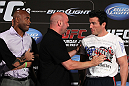 LAS VEGAS, NV - JULY 3:   (L-R) Opponents Anderson Silva and Chael Sonnen are separated by UFC President Dana White during the UFC 148 press conference at Lagasse's Stadium inside The Palazzo on July 3, 2012 in Las Vegas, Nevada.  (Photo by Josh Hedges/Zuffa LLC/Zuffa LLC via Getty Images)