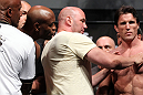LAS VEGAS, NV - JULY 6:   UFC President Dana White separates Anderson Silva (L) and Chael Sonnen (R) during the UFC 148 Weigh In at the Mandalay Bay Events Center on July 6, 2012 in Las Vegas, Nevada.  (Photo by Josh Hedges/Zuffa LLC/Zuffa LLC via Getty Images)