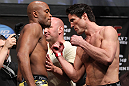 LAS VEGAS, NV - JULY 6:   (L-R) Opponents Anderson Silva and Chael Sonnen face off during the UFC 148 Weigh In at the Mandalay Bay Events Center on July 6, 2012 in Las Vegas, Nevada.  (Photo by Josh Hedges/Zuffa LLC/Zuffa LLC via Getty Images)