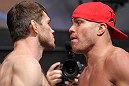 LAS VEGAS, NV - JULY 6:   (L-R) Opponents Forrest Griffin and Tito Ortiz face off during the UFC 148 Weigh In at the Mandalay Bay Events Center on July 6, 2012 in Las Vegas, Nevada.  (Photo by Josh Hedges/Zuffa LLC/Zuffa LLC via Getty Images)