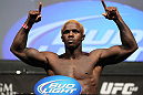LAS VEGAS, NV - JULY 6:   Melvin Guillard makes weight during the UFC 148 Weigh In at the Mandalay Bay Events Center on July 6, 2012 in Las Vegas, Nevada.  (Photo by Josh Hedges/Zuffa LLC/Zuffa LLC via Getty Images)