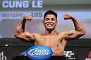LAS VEGAS, NV - JULY 6:   Cung Le makes weight during the UFC 148 Weigh In at the Mandalay Bay Events Center on July 6, 2012 in Las Vegas, Nevada.  (Photo by Josh Hedges/Zuffa LLC/Zuffa LLC via Getty Images)