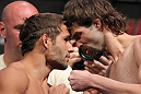 LAS VEGAS, NV - JULY 6:   (L-R) Opponents Chad Mendes and Cody McKenzie face off during the UFC 148 Weigh In at the Mandalay Bay Events Center on July 6, 2012 in Las Vegas, Nevada.  (Photo by Josh Hedges/Zuffa LLC/Zuffa LLC via Getty Images)