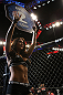 LAS VEGAS, NV - JULY 7:   UFC Octagon Girl Arianny Celeste waves at the crowd at UFC 148 inside MGM Grand Garden Arena on July 7, 2012 in Las Vegas, Nevada.  (Photo by Josh Hedges/Zuffa LLC/Zuffa LLC via Getty Images)  *** Local Caption *** Arianny Celeste