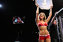 LAS VEGAS, NV - JULY 7:   UFC Octagon Girl Brittney Palmer introduces round three at UFC 148 inside MGM Grand Garden Arena on July 7, 2012 in Las Vegas, Nevada.  (Photo by Josh Hedges/Zuffa LLC/Zuffa LLC via Getty Images)  *** Local Caption *** Brittney Palmer
