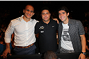 LAS VEGAS, NV - JULY 7:   (L-R) Junior dos Santos, Ronaldo &amp; Kaka in attendance during UFC 148 inside MGM Grand Garden Arena on July 7, 2012 in Las Vegas, Nevada.  (Photo by Jeff Bottari/Zuffa LLC via Getty Images)  *** Local Caption *** Junior dos Santos; Ronaldo; Kaka