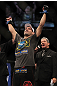 LAS VEGAS, NV - JULY 7:   Demian Maia reacts to being declared the winner in his fight against Dong Hyun Kimg during UFC 148 inside MGM Grand Garden Arena on July 7, 2012 in Las Vegas, Nevada.  (Photo by Josh Hedges/Zuffa LLC/Zuffa LLC via Getty Images)  *** Local Caption *** Demian Maia