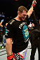 LAS VEGAS, NV - JULY 7:   Forrest Griffin reacts to being declared the winner in his fight against Tito Ortiz after their light heavyweight bout at UFC 148 inside MGM Grand Garden Arena on July 7, 2012 in Las Vegas, Nevada.  (Photo by Donald Miralle/Zuffa LLC/Zuffa LLC via Getty Images)  *** Local Caption *** Forrest Griffin