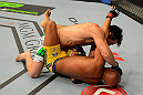 LAS VEGAS, NV - JULY 7:   Chael Sonnen (top) punches Anderson Silva during their UFC middleweight championship bout at UFC 148 inside MGM Grand Garden Arena on July 7, 2012 in Las Vegas, Nevada.  (Photo by Donald Miralle/Zuffa LLC/Zuffa LLC via Getty Images)  *** Local Caption *** Anderson Silva; Chael Sonnen